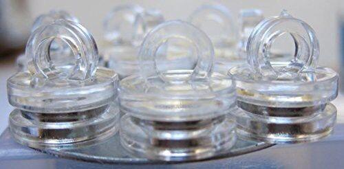 10 x Haken Magnet Neodym durchsichtig Ø 16 mm x 17 mm hält 2 kg