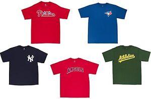 MLB-Baseball-Men-039-s-Majestic-Wordmark-T-Shirt-Pick-Team