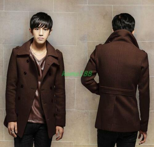 New Mens Overcoats Wool Blend Coat Double-breasted Peacoat Slim Fit Lapel Tops 5