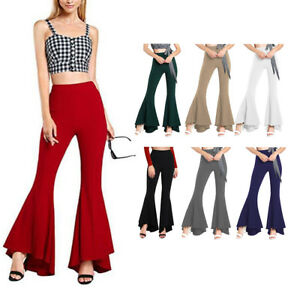 Women Solid High Waist Flare Wide Leg Chic Trousers Bell Bottom Yoga Pa/>v