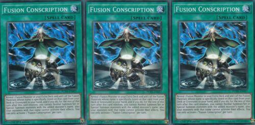 YuGiOh CARD 3 X FUSION CONSCRIPTION  FUEN-EN057  SUPER RARE 1ST EDITION