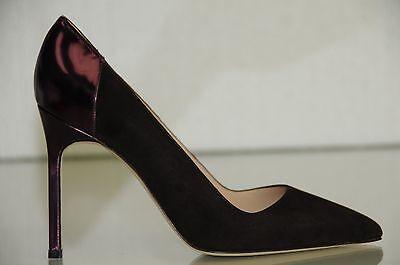 New Manolo Blahnik BB Brown Suede Purple Liquid Leather Shoes 105 Heels Pumps 42
