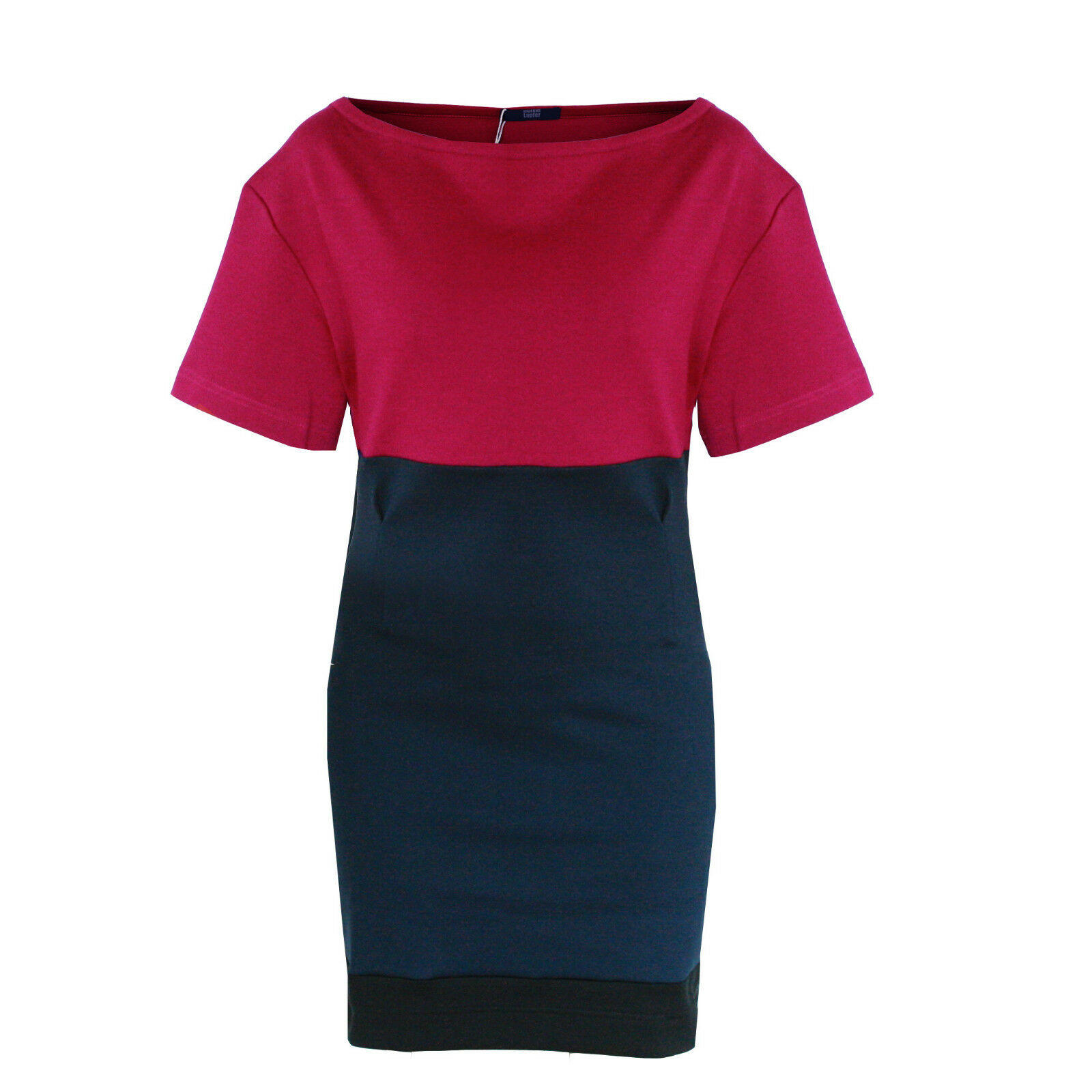 MARKUS LUPFER Farbeblock navy fuchsia dress fitted darted cocktail dress L NEW