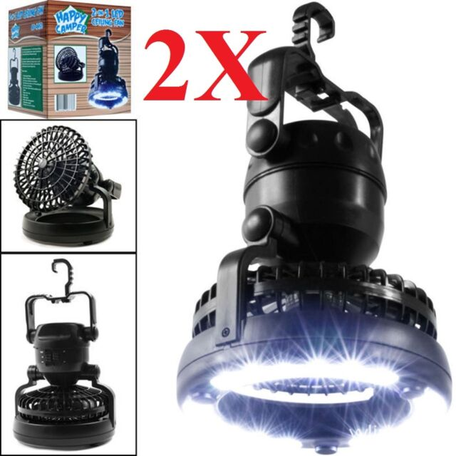 2pc 2-in-1 18 LED Camping Lights Fan Lantern Lamp Flashlight Ceiling Fan Outdoor