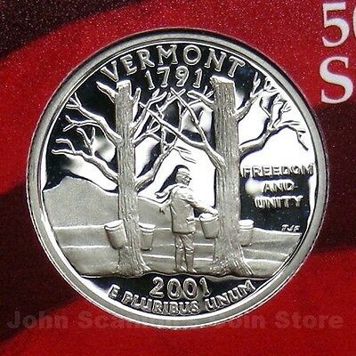 2001 S VERMONT *90/% SILVER PROOF*  STATE QUARTER   **FREE SHIPPING**