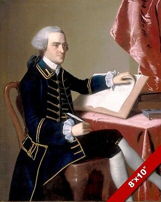 GOV JOHN HANCOCK US FOUNDING FATHER PORTRAIT PAINTING ART REAL CANVAS PRINT