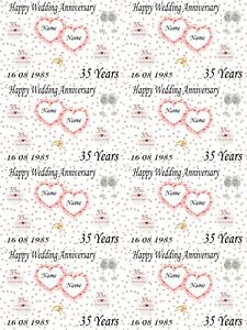 Personalised Coral 35th Wedding Anniversary Gift Wrapping Paper Add Names Date Ebay