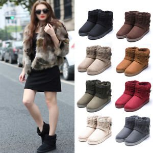 NEW-Women-Ladies-Knitted-Lined-Winter-Snow-Ankle-Boots-Warm-Casual-Flat-Shoes