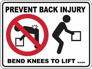 Prevent Back Injury 5 Sticker Sign Decal Set Public Safety OHS WHS 80mm x 60mm