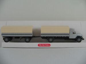Wiking-85501-Magirus-S-7500-Pritschen-Lastzug-1955-in-lichtgrau1-87-H0-NEU-OVP