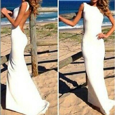 Sexy Women Clubwear Cocktail Party Backless White Bandage Bodycon Long Dress