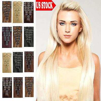 """Long 18"""" 20"""" 22"""" Clip In Remy Human Hair Extensions Full Head Cheap Blonde US C1"""