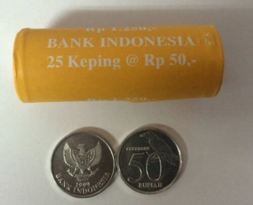 INDONESIA 50 RUPIAH 1999 Kapodang Bird COINS UNC LOT 25 PCS 1 ROLL
