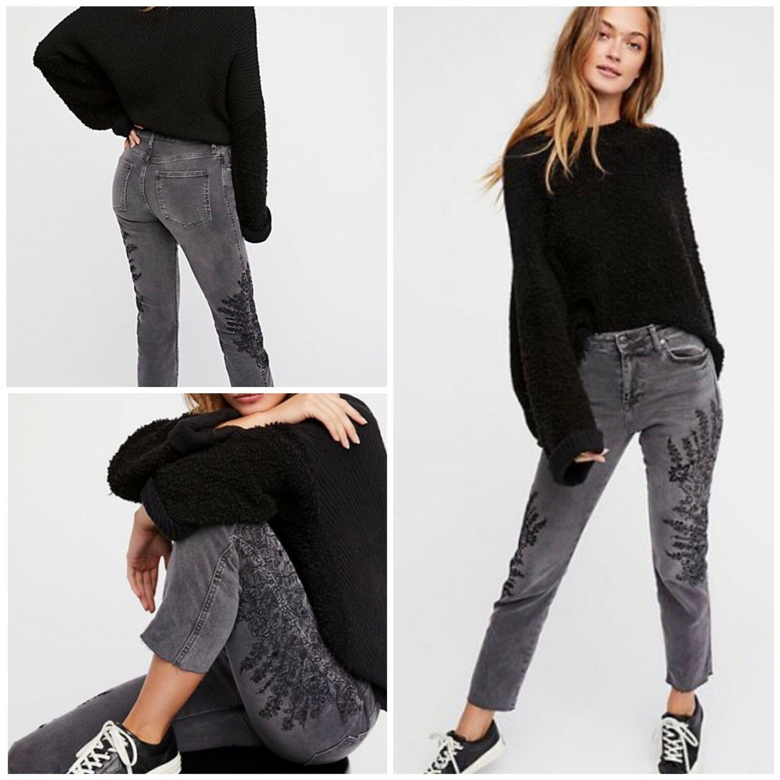 Free People Embroidered Girlfriend Jeans Size 25 New
