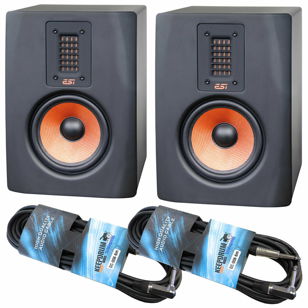 ESI Unik 05+ aktive Studio Monitor-Boxen 1 Paar + 2x keepdrum Klinkenkabel 6m