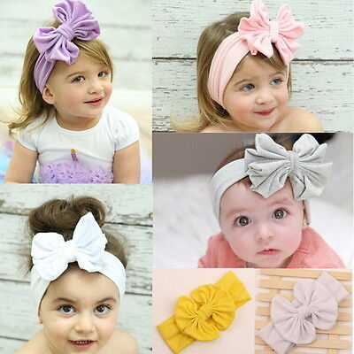 Toddler Girls Kids Baby Big Bow Hairbands Headband Stretch Turban Knot Head Pip