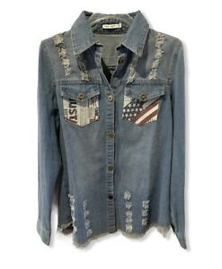 Denim-Chambray-Shirt-Jacket-Distressed-Tunic-Frayed-Flag-Button-Down-Size-Large