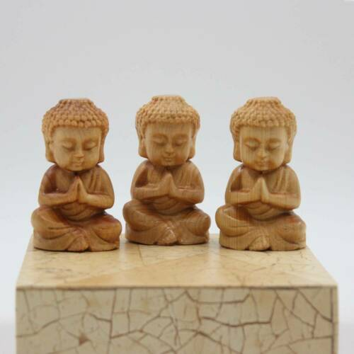 3er Set Mini Buddha Figuren Zedern Holz China Asia Glücksbringer AsienLifeStyle