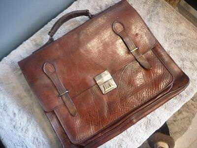 Bellissimo Lovely Vintage In Pelle Borsa A Tracolla Laptop Messenger Bag.-mostra Il Titolo Originale E La Digestione Aiuta