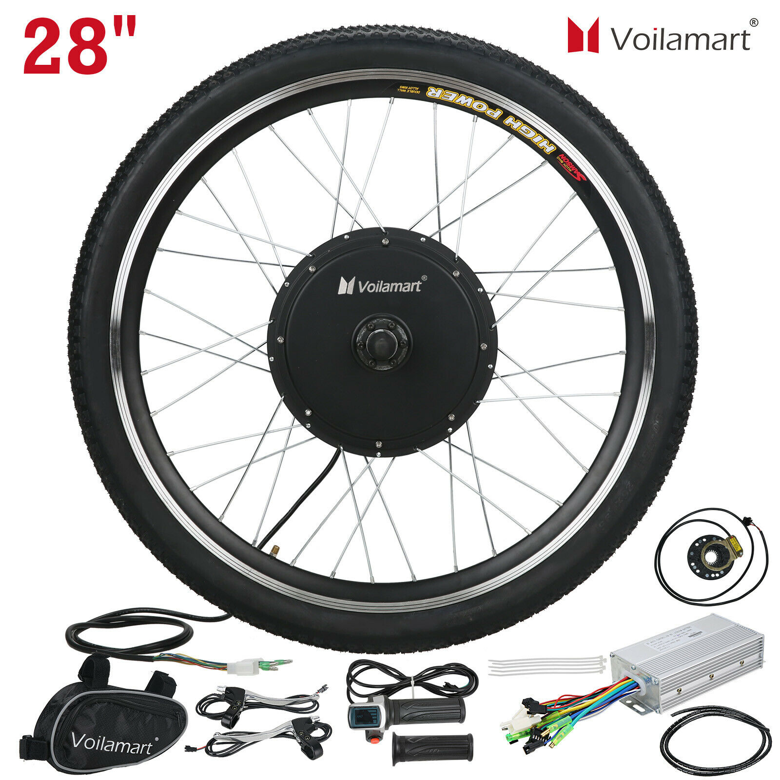 28″ Front Wheel Electric Bicycle Motor Conversion Kit Bike Cycling Hub 48V 1000W