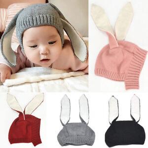 09505b89efa Baby Hat Kids Knitted Cap Crochet Rabbit Long Ear Hat Bunny Beanie ...
