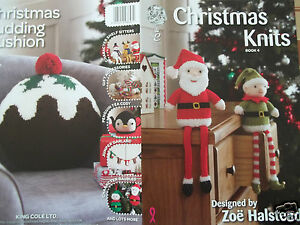 CHRISTMAS KNITS ELF SANTA ON THE SHELF SNOWMAN KNITTING PATTERN KING COLE BOO...