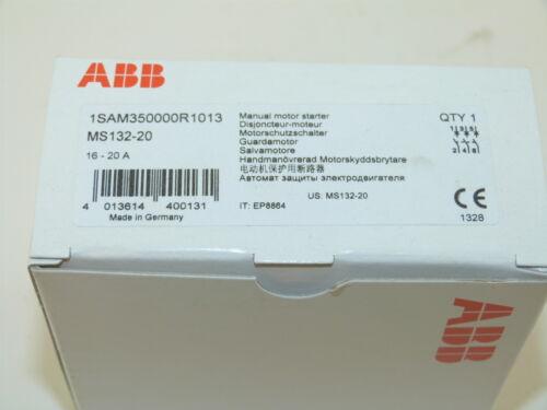 ABB Manual Motor Starter 16 to 20 Amp MS132-20 NEW 1-yr Warranty