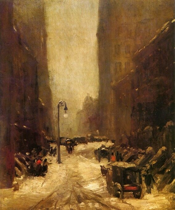 SNOW IN NEW YORK CITY CARRIAGE 1902 AMERICAN PAINTING BY ROBERT HENRI REPRO