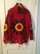 hippie FLOWER POWER Daisy Wool Sweater Coat XL Yari Artesanias ecuador Festival