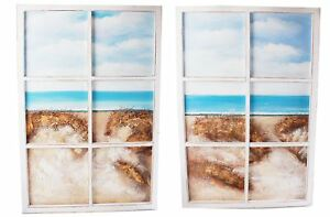Extra-Large-6-Pane-Window-Art-Wooden-Framed-Beach-Scene-Wall-Print