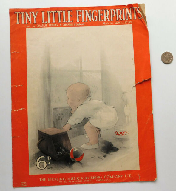 Tiny Little Fingerprints song vintage 1930s sheet music song Tobias Newman Stept