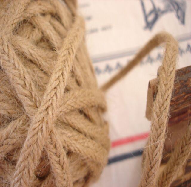 Rustic Organic Braided Jute Linen Flat Tape/Rope Craft Twine String