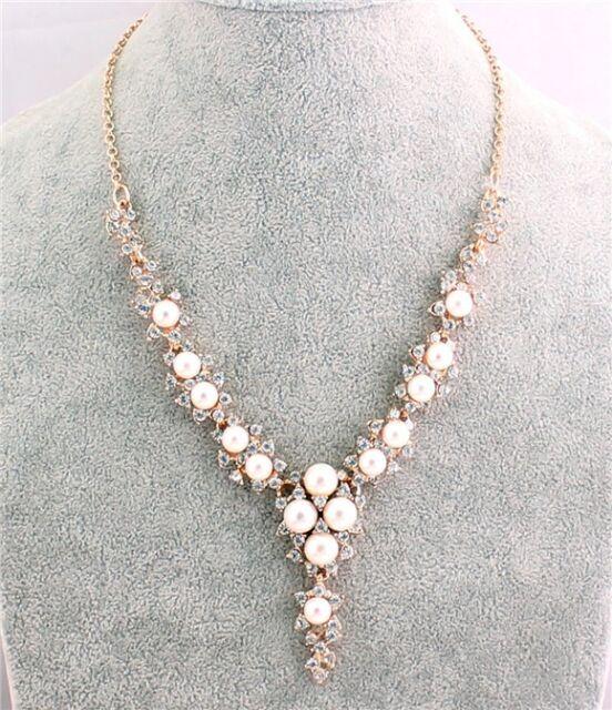 JLM's New Nice Hot White Crystal Venetian pearl Bib statement Necklace Pendant
