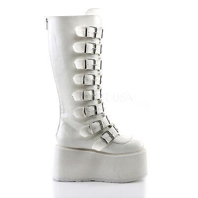 "Damned 115 Goth Punk Grunge 3.5/"" Flat Platform Boot White Leatherette"