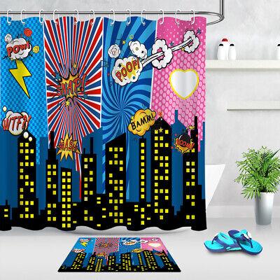 Superhero City Explosion Scene Fabric Bathroom Shower Curtain Set w// Hooks 180CM