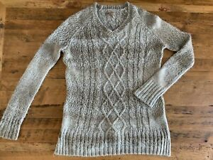 100 Prana Tunica Womens Cable Sweater Knit Large di acrilico d'avena Tan farina WrrUcTR