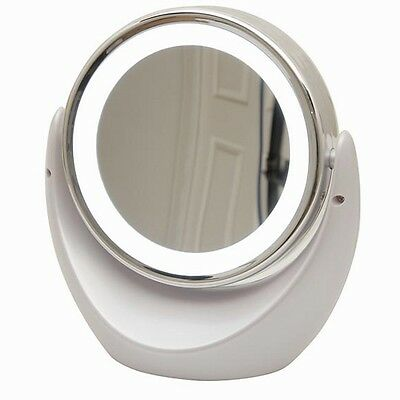 Dual Magnify Mirror w LED Light for Makeup/Contact Lens