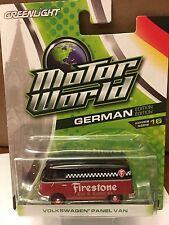 Greenlight MOTOR WORLD  Volkswagen  FIRESTONE Panel Van Black & Red