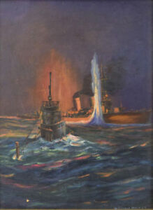 Details about ORIGINAL WW2 WWII KRIEGSMARINE GERMAN NAVY U-BOAT SUBMARINE  NAVAL ART PAINTING