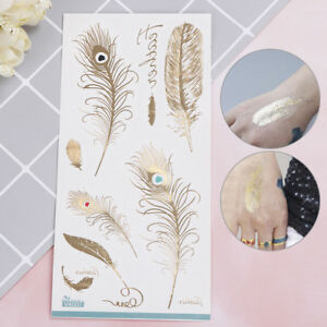 2X-Feather-design-tattoo-gold-temporary-tattoos-glitter-sticker-for-women-amp-meBDfw