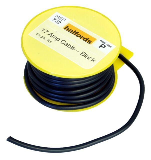 halfords hef732 single core cable 17 amp 12v black 4m long 28 copper rh ebay co uk car amp wiring kit halfords