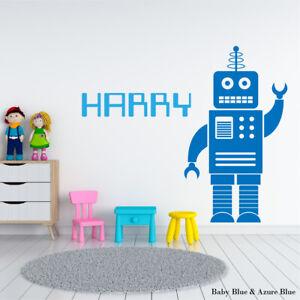 ROBOT-Adesivo-parete-personalizzato-NURSERY-BABY-per-bambini-decalcomania-ragazzi-ragazze-in-vinile
