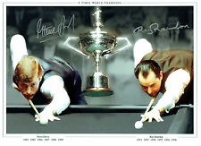 Steve DAVIS & Ray REARDON Signed Autograph 16x12 SNOOKER Montage Photo AFTAL COA