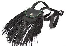 Handmade Black Leather Fringe Crossbody Sm Bag with Turquoise Beading & Concho