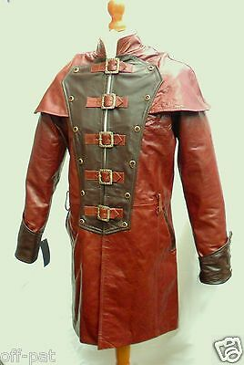 Brown GOTH Coat Mans LEATHER Gothic Steampunk Jacket