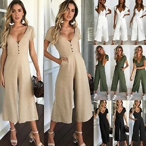 UK-Womens-Summer-Button-V-Neck-Plunge-Wide-Leg-Jumpsuit-Playsuit-Culotte-UK-6-16