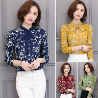 Hot Chic Women Long Sleeve Chiffon Shirts Bowknot Floral Tops Casual Slim Blouse