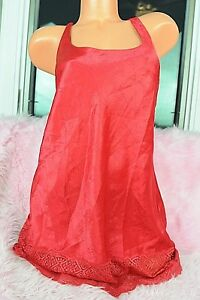3bd5c56de VTG Victoria s Secret Red Textured Satin Wide Lace Fancy Nightgown ...
