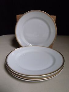 Heinrich Princess Selb Bavaria Germany White Gold Band 4 Bread & Butter Plates A