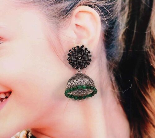 Bollywood oxydé Plaqué Argent Fait Main Clous jhumka JHUMKI Boucles d/'oreilles # Green 060